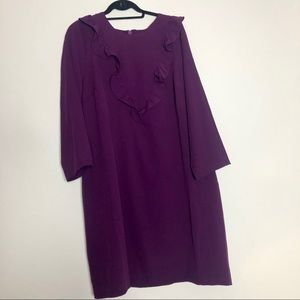 ELOQUII Purple Ruffle Sheath Dress